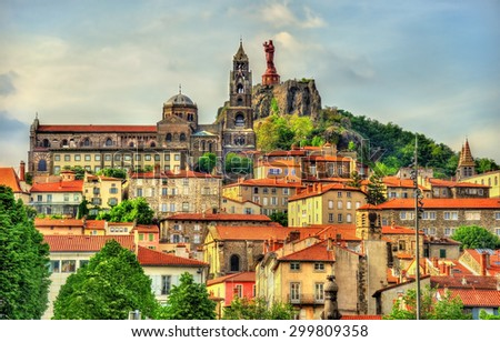 View of Le Puy-en-Velay, a town in Haute-Loire, France - stock photo