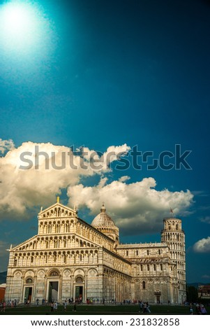 View of Leaning tower, and Duomo, Piazza dei miracoli, Pisa, Italy - stock photo