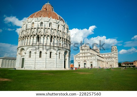 View of Leaning tower, Baptistery and Duomo, Piazza dei miracoli, Pisa, Italy - stock photo