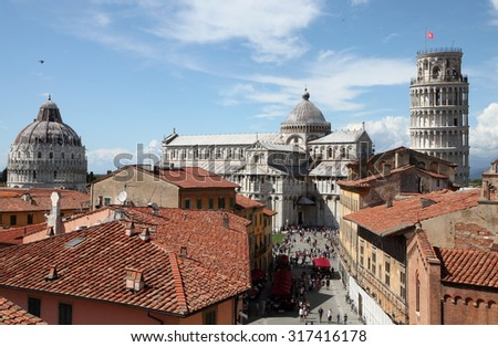 View of Leaning Tower of Pisa and church in Pisa, Italy - stock photo