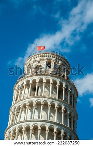 View of Leaning tower, Piazza dei miracoli, Pisa, Italy. - stock photo