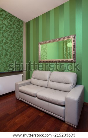 View of leather sofa in living room