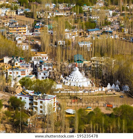 View of Leh city, the capital of Ladakh, Northern India. Leh city is located in the Indian Himalayas at an altitude of 3500 meters.  - stock photo