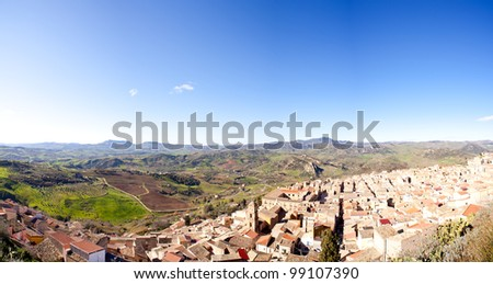View of Leonforte and countryside, Sicily - Italy