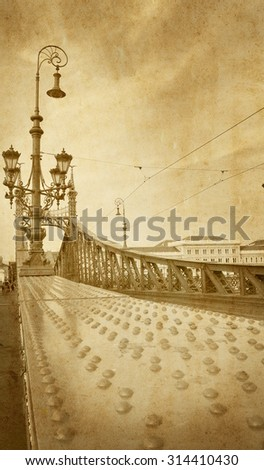 View of Liberty Bridge over the Danube river in Budapest in retro vintage style