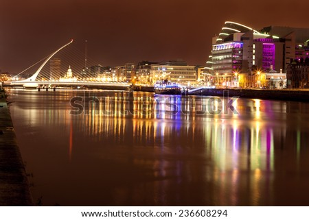 View of Liffey river at night in Dublin, Ireland - stock photo