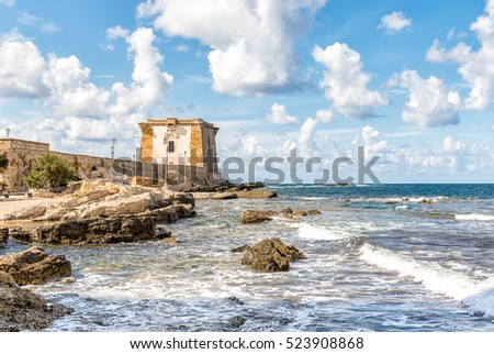 View of Ligny Tower, is a coastal watchtower in Trapani, Sicily. Italy.
