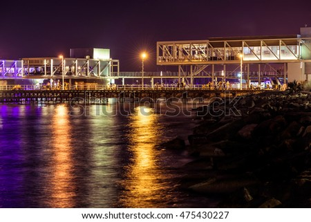 View of Limassol cityscape and waterfront at night