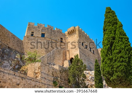 View of Lindos Acropolis. Rhodes island, Dodecanese islands, Greece, Europe - stock photo