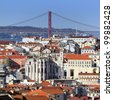 view of Lisbon and the river Tagus, Portugal - stock photo
