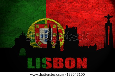 View of Lisbon on the Grunge Portuguese Flag - stock photo