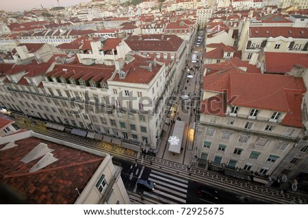 View of Lisbon's downtown - stock photo