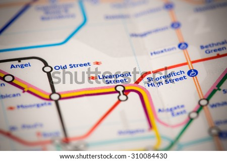 View of Liverpool Street station on a London subway map. - stock photo