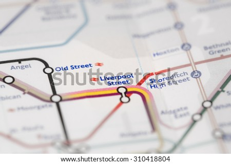 View of Liverpool Street station on a London subway map. (selective colouring) - stock photo