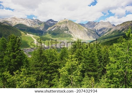 View of Livigno in the Italian Alps