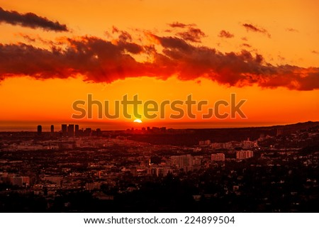 View of Los Angeles and the coast at sunset from the Griffith Observatory - stock photo