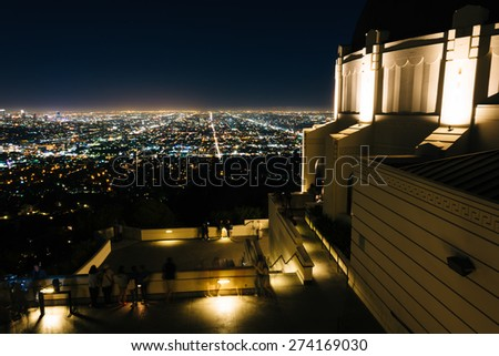 View of Los Angeles and the Griffith Observatory at night, in Griffith Park, Los Angeles, California. - stock photo