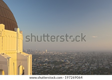 View of Los Angeles City from the Griffith Observatory in Los Angeles, California, united States of America - stock photo