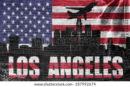 View of Los Angeles City on the American flag on the jeans texture - stock photo