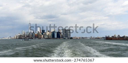 View of Lower Manhattan and the Financial District of New York.