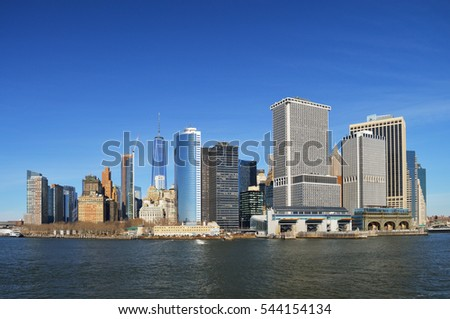 View of Lower Manhattan at sunny day.