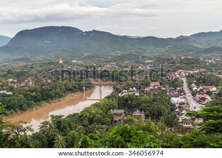 View of Luang Prabang, Laos from Mount Phousi - stock photo