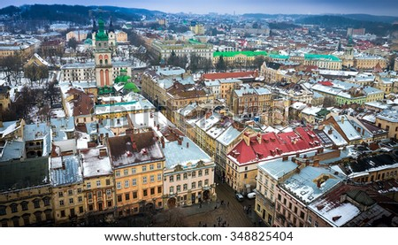 View of Lviv from the roof of City Hall.