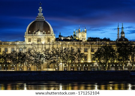 View of Lyon city after sunset with Rhone river - stock photo