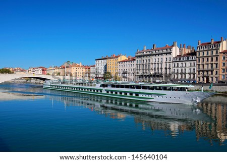 view of Lyon city and Saone River, France - stock photo