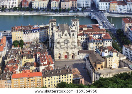 View of Lyon with Saint Jean cathedral, France - stock photo