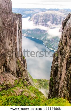 View of Lysefjord from mountain Kjerag - stock photo