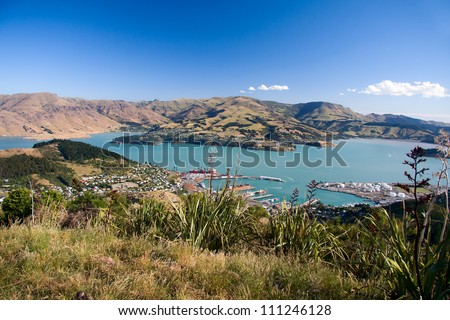 View of Lyttelton port from Mount Pleasant. new Zealand, South Island. - stock photo