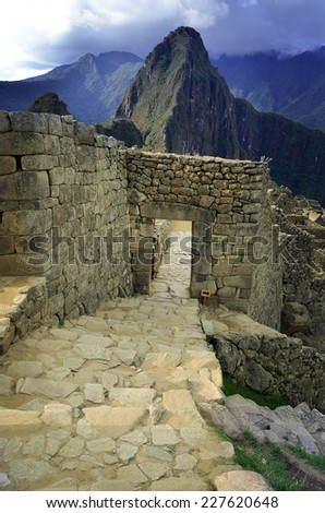 View of Machu Picchu Lost city of Inkas, entrance gate