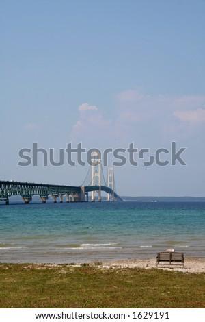 View of Mackinac bridge - stock photo