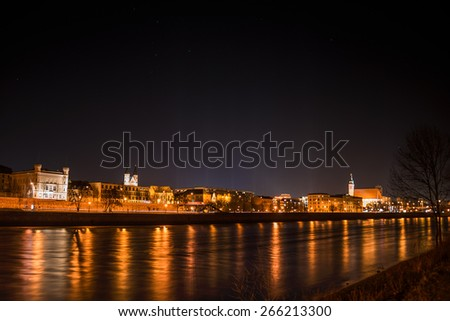 View of Magdeburg and the river Elbe at night with stars, 2015 - stock photo