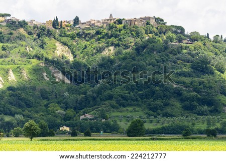 View of Magliano Sabina (Rieti, Lazio, Italy), historic town, at summer