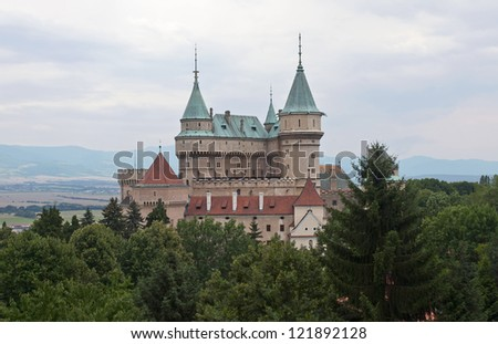 View of magnificent castle Bojnice in Slovakia - stock photo