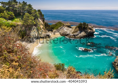View of magnificent McWay Falls in Julia Pfeiffer Burns State Park.