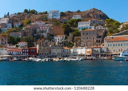 View of main Capitol port in Hydra island in Greece Saronikos Gulf