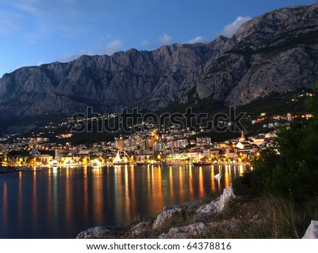 View of Makarska city, famous resort in Croatia.