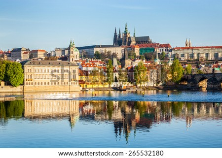 View of Mala Strana and Prague castle and St. Vitus Cathedral over Vltava river in the morning. Prague, Czech Republic - stock photo