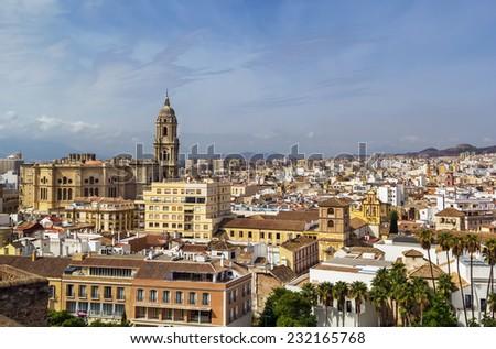 View of Malaga city center from Alcazaba, Spain - stock photo