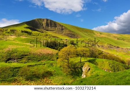 View of Mam Tor from above Winnats Pass near Castleton in the Peak District National Park Derbyshire England - stock photo