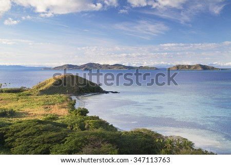 View of Mana Island and Malolo Island, Mamanuca Islands, Fiji