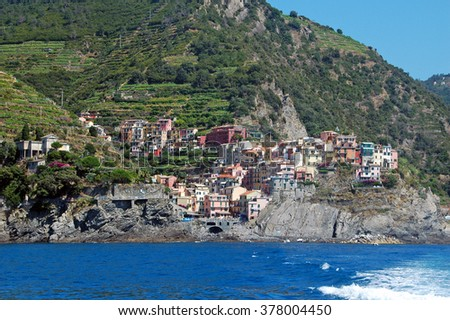 View of Manarola,one of the five Cinque-terre villages in Italy, seen from a boat.