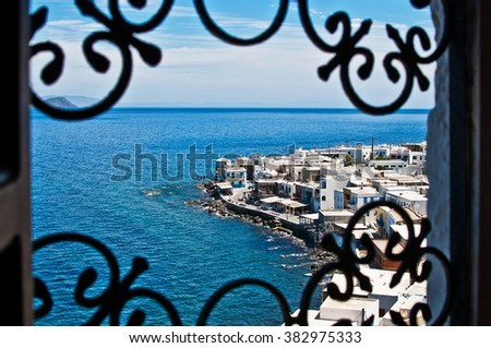 View of Mandraki village  from window on Nisyros Island, Greece, Europe