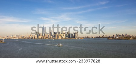 View of Manhattan and Brooklyn from the Statue of Liberty.