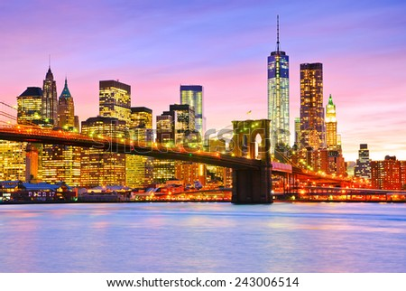 View of Manhattan at dusk. - stock photo