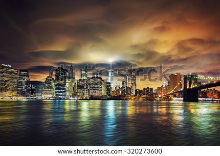 View of Manhattan at sunset, New York City.  - stock photo
