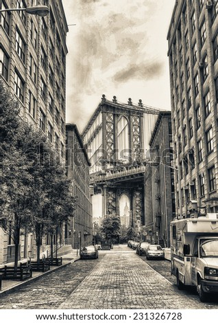 View of Manhattan Bridge on a overcast spring day - New York City. - stock photo